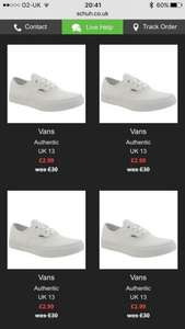 Vans junior shoes from £2.99 and many other imperfect bargains @ Schuh