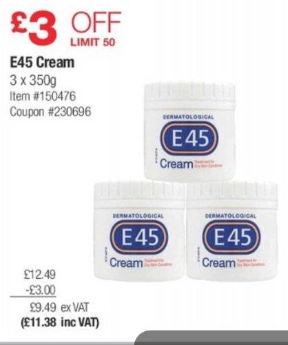 E45 Cream 350ml x 3 for £11.38 @ Costco £3.79 each