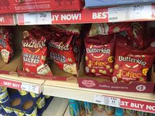 butterkist popcorn, 3 for £1 at Heron