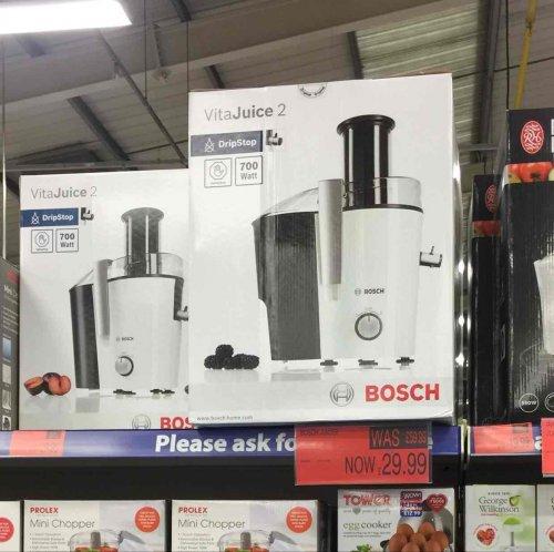 Bosch Vitajuice 2 Juicer. £59.99 to £29.99. B&M Bargains Rawtenstall.