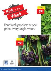 Lidl Pick of the Week Deal 16th-22nd March 4 Fresh Products @ 69p:250g Spinach, 750g Leeks, 200g Speciality Broccoli and 1kg Baking potatoes.