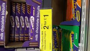 Cadbury chocolate  fingers 2 ,for £1 in store farmfoods