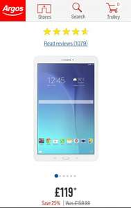 Samsung Tab E-  £119 at Argos until Saturday 11/3