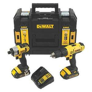 DEWALT  18V  LI-ION COMBI DRILL & IMPACT DRIVER+ 2 X1.5AH +Kit Box+Charger £149.99 @ Screwfix
