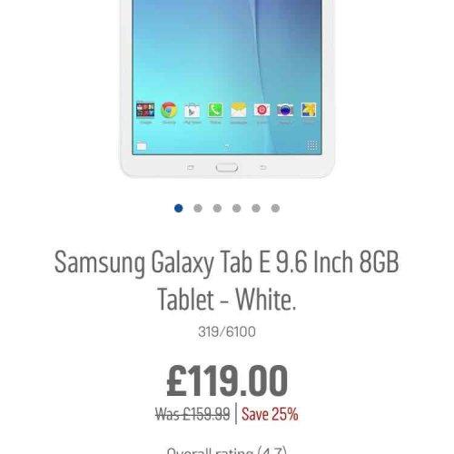 Samsung Galaxy Tab E 9.6 Inch 8GB Tablet - White £119 @ Argos
