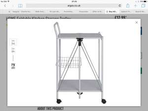 Foldable kitchen storage trolley at Argos for £12.99