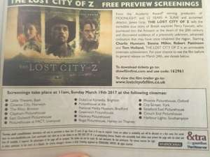 The Lost City of Z - Free preview screenings