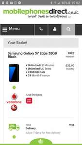 Samsung S7 edge Vodafone £32 unltd mins/texts 24GB 4G data £768 @ MPD