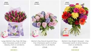 Free chocolates worth £5 and free delivery on Mother's Day on 4 different bouquets of flowers £35 @ Marks and Spencers