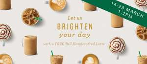 Free tall latte possibly with extras at many Starbucks nationwide every day 1-2PM just turn up (Ends 23rd March)
