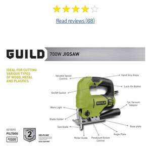 Guild Variable Speed Jigsaw - 710W with 2 years warranty was £32.99 now £21.99 (68 Reviews) at Argos item number: 451/8392