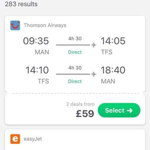 Manchester to Tenerife South £59 Return Thomson Airways via Skyscanner (21/03 to 28/03)
