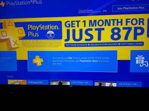 Playstation Plus - 1 Month for 87p (OFFER EXTENDED)
