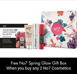 Free No.7 spring glow gift box when you buy any 2  No.7 cosmetic or accessories (cheapest item 4.95) minimum spend of £9.90 @ boots
