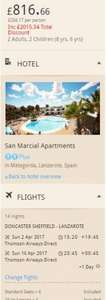 From Doncaster: Easter school holidays for some 2nd -16th April - 2 weeks in Lanzarote based on 2A 2C £204.17pp @ Thomson