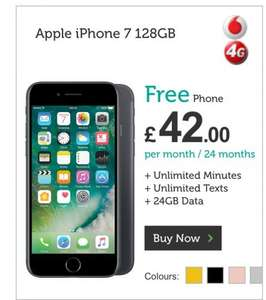 Iphone 7 128gb zero handset cost unlimited minutes unlimited texts 24gb data 2gb roaming data £42pm £1008 @ mobilephonesdirect