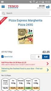Tesco pizza express all flavours half price £2.25 with free restaurant voucher in pack