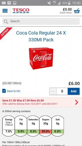 24 cans coca cola only £6 tesco