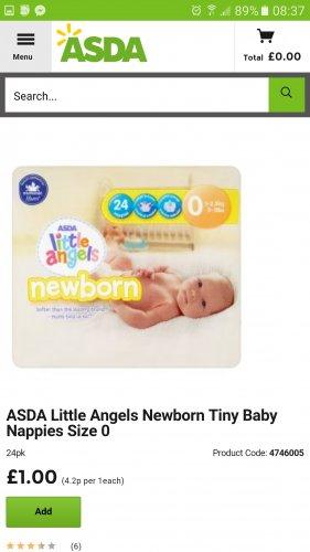 Newborn Nappies Asda £1