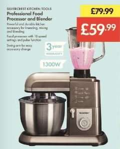 Food Processor and Blender 1300W £59.99 (Was £79.99) - LIDL (Silvercrest) - 3 Year Warranty