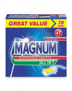 Magnum All-In-One Dishwasher Tablets 70 for £5.99 + free delivery available to pre order now. at Aldi
