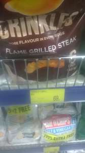 Walkers Crinkles Flame Grilled Steak Crisps 6x23g 69p in B&M Colchester