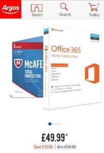 Office 365 Home + McAfee 1year subscription £49.99 @ Argos