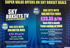 Amazing Sky Deals - Boxsets with unlimited Fibre £23.35 - £34.95 upfront - 18 months contract  @ Carphone Warehouse in Currys
