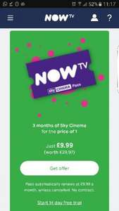 Via topcashback (exclusive) - 3 months sky cinema for £9.99 on now Tv with £7.50 cashback
