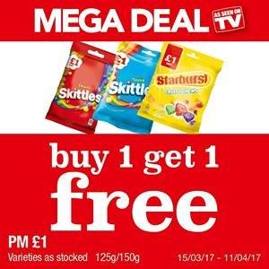 Skittles / Starburst buy 1 get 1 free £1.00 @ Premier-stores
