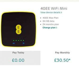 4G wifi with mini device 64GB data a month £25.50 (£612) on EE