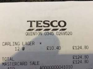 Carling 440ml x 20 pack for £10.40 in store Tesco