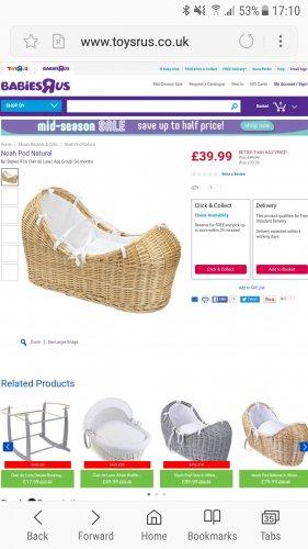 Clair de lune Noah pod natural £39.99 at babies r us - Free c&c