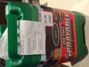 Cuprinol one coat sprayable fence paint 5L £3 each or 3 for £5 @ Boyes