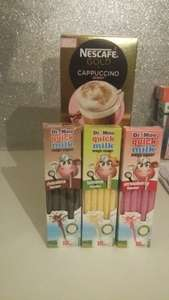 Reduced To Clear ie Nescafe Gold Cappuccino Skinny 10 pack 50p / Dr Moo Quick Milk Magic Sipper 10 Straws 38p instore @ Asda (Liverpool)