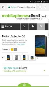 LOWER PRICE. Motorola Moto G5 3GB Ram sim free NOW £162.99 @ mobilephonesdirect.co.uk