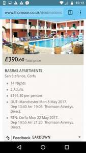 From London or Manchester: May 2 Week Holiday to Corfu £195.30pp @ Thompson