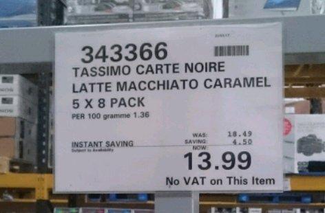 TASSIMO Carte Noire Latte Macchiato Caramel - 5 packs £13.99 Costco instore