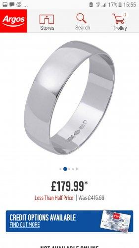 Mens / ladies platinum wedding ring at argos in store £179.99