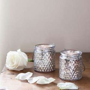 Pair of Silver Glass Battery LED Tea Light Jars £6.46 @ tesco