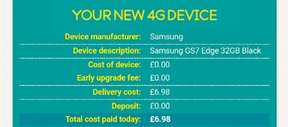 Samsung S7 Edge £35.99 p/m + £7 del 10gb, 500mb, unlimited txt & calls 24 months £870.76 @ EE (phone call)
