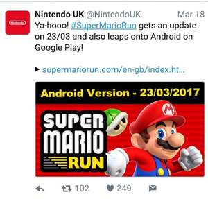 Super Mario Run on Android £9.99 @ google play