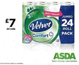 Velvet Comfort 24 Rolls - £7 ASDA instore - Rock Bottom Price