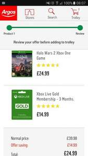 Halo wars 2 + Free 3 months Xbox Live Gold £24.99 @ Argos