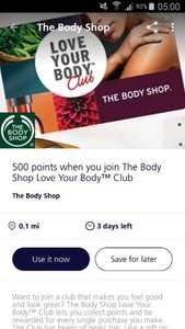 500 free points worth £5 at The Bodyshop, In store only!