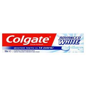 Colgate Advanced White/Whitening Deep Clean Toothpaste 100Ml - 2 for £3.00 (50p each after cashback) @ Tesco
