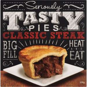 Seriously Tasty Pies Classic Steak (235g) / Roast Chicken Pie (235g) / Minced Beef & Onion Pie (235g) / Steak & Dark Ale (235g) / Chicken & Mushroom Pie (235g) / was £1.50 - £1.00 @ Asda