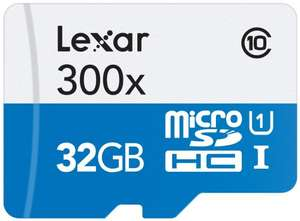 Lexar High Performance microSDHC 300x 32GB UHS-I Card with SD Adapter £8.99 prime / £12.98 non prime @ Amazon