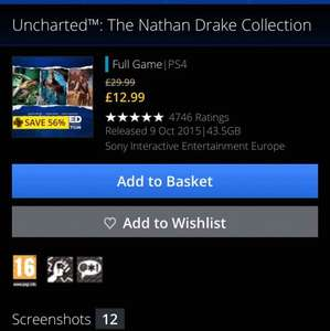 Uncharted The Nathan Drake Collection £12.99 PS Plus