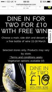 Marks and spencer dine in for 2 with free wine £10